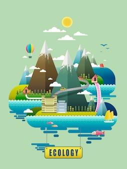 Concepto de ecología, elementos ambientales con montañas.
