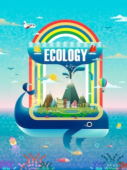 Concepto de ecología, elementos ambientales con picos de ballena.