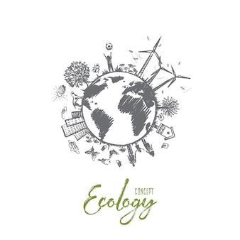 Concepto de ecología. entorno ecológico sostenible dibujado a mano. armonía viviendo con la naturaleza ilustración aislada.