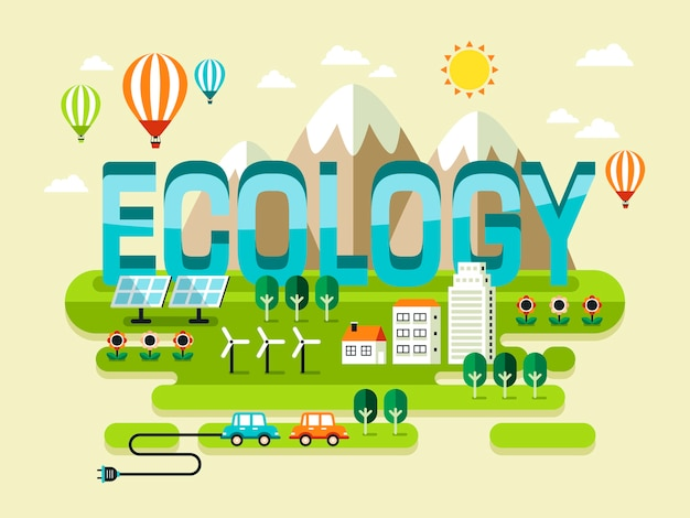 Concepto de ecología, hermosos paisajes con estilo