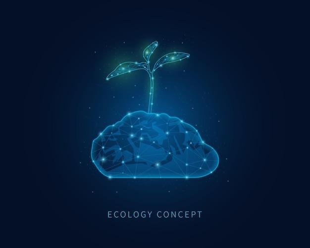Concepto de ecología ilustración de estructura metálica poligonal con planta