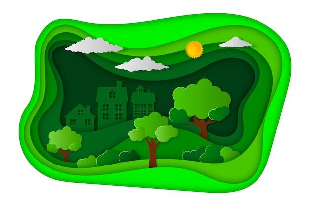 Concepto de ecología en papel con árboles