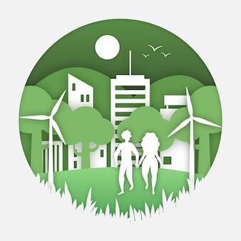 Concepto de ecología en papel con la naturaleza y las personas.