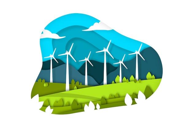 Concepto de ecología en papel con turbinas eólicas.