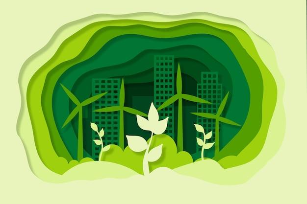 Concepto de ecología en papel