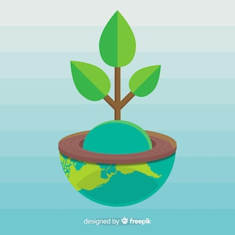 Concepto de ecología con planta creciendo desde el planeta tierra