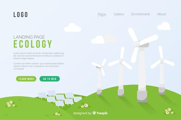 Concepto de ecología plantilla de página de aterrizaje