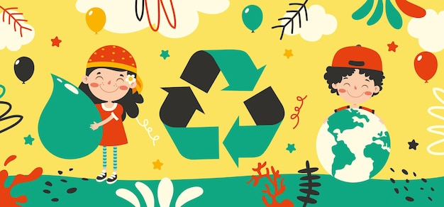 Concepto de ecología y sostenibilidad con niños de dibujos animados