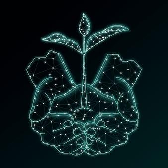 Concepto de ecología tecnológica en azul