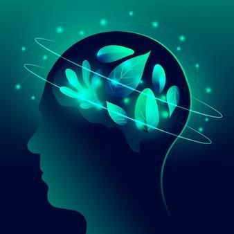 Concepto de ecología tecnológica con cabeza humana.