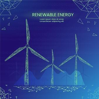 Concepto de ecología tecnológica con energía eólica.