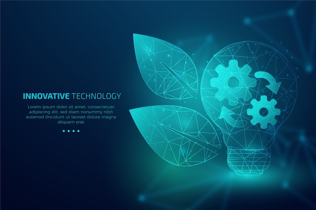 Concepto de ecología tecnológica con hojas y engranajes.