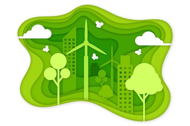Concepto de ecología verde en papel estilo