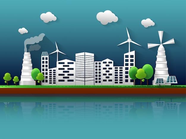 Concepto de ecología con vista a la ciudad.