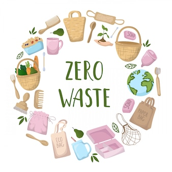 Concepto ecológico - bolsas ecológicas, cubiertos, cosas