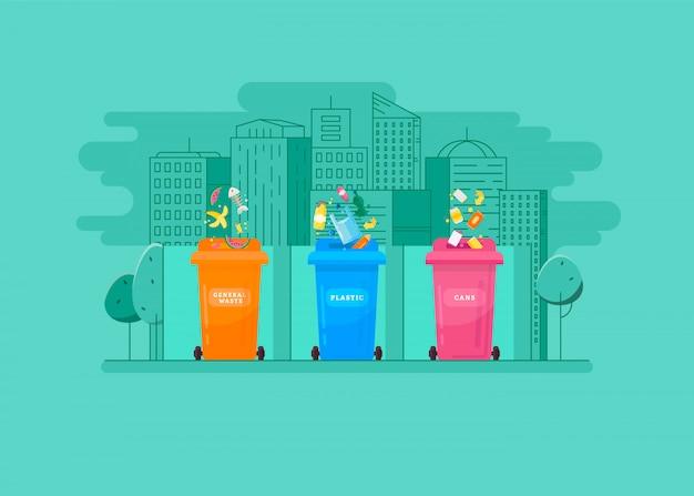 Concepto ecológico - clasificación de la basura en los contenedores de colores.
