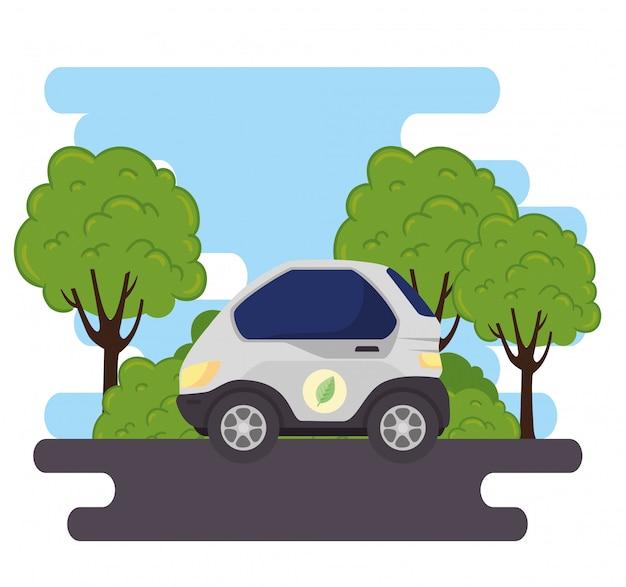 Concepto ecológico, coche eléctrico en la carretera, con diseño de ilustración de vector de plantas de árbol