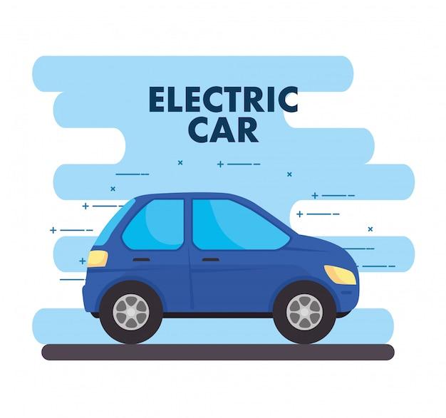 Concepto ecológico, coche eléctrico de color azul.
