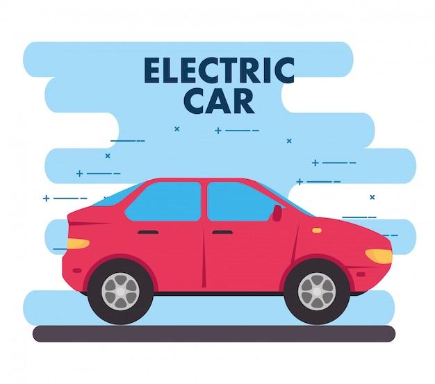 Concepto ecológico, coche eléctrico de color rojo.
