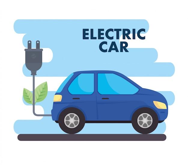 Concepto ecológico, coche eléctrico de diseño de ilustración vectorial de color azul