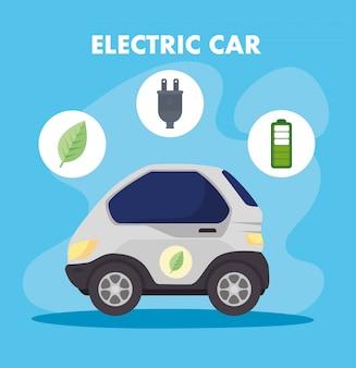 Concepto ecológico, coche eléctrico con hoja, enchufe, diseño de ilustración de vector de cargador de batería