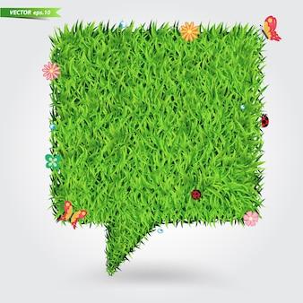 Concepto ecológico de hierba verde para la burbuja del discurso