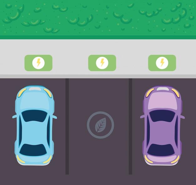 Concepto ecológico, vista aérea de, autos eléctricos en estacionamiento