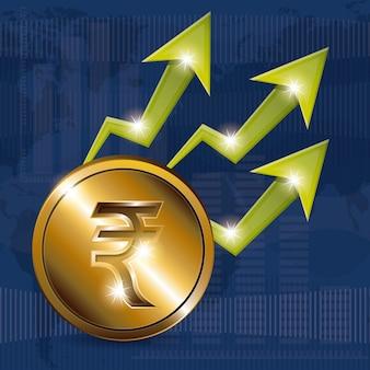 Concepto de economía global con iconos de dinero