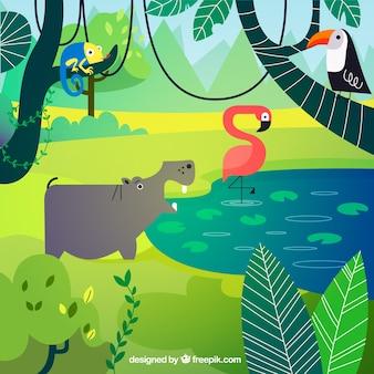 Concepto del ecosistema con animales