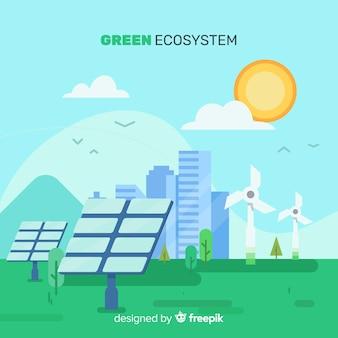 Concepto del ecosistema con células solar