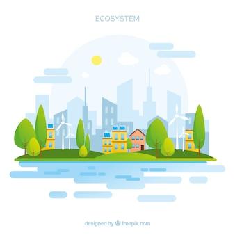Concepto del ecosistema con ciudad