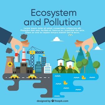 Concepto del ecosistema y contaminación en estilo flat