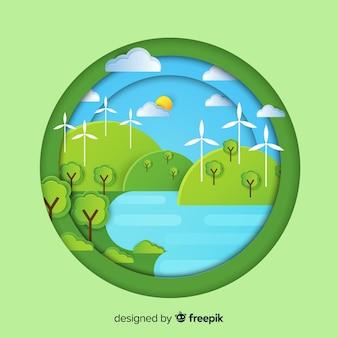 Concepto del ecosistema en estilo flat