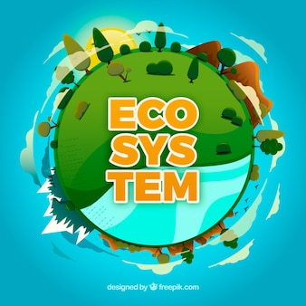 Concepto del ecosistema con globo redondo