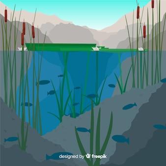 Concepto del ecosistema con lago