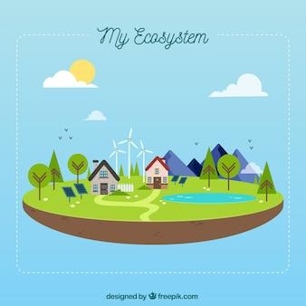 Concepto del ecosistema en plato
