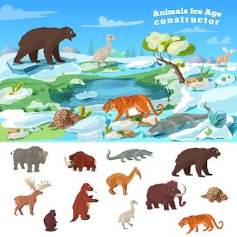 Concepto de edad de hielo de animales