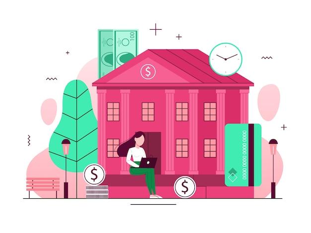 Concepto de edificio bancario. idea de finanzas, inversión de dinero. exterior de la institución financiera. fachada de la casa con columna. juzgado o gobierno. ilustración