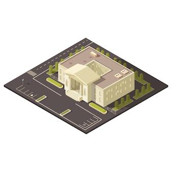 Concepto de edificio de gobierno con estacionamiento y césped y árboles ilustración vectorial isométrica