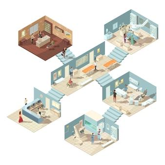 Concepto de edificio de hospital isométrico con médicos, pacientes y equipo