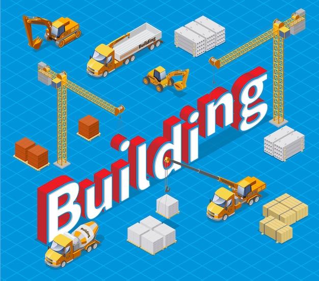 Concepto de edificio industrial isométrico con diferentes materiales de construcción, grúas, camiones de carga hormigonera y excavadoras aisladas