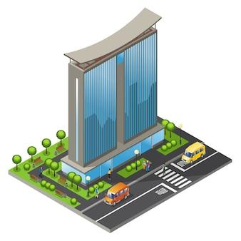 Concepto de edificio de oficinas isométrico