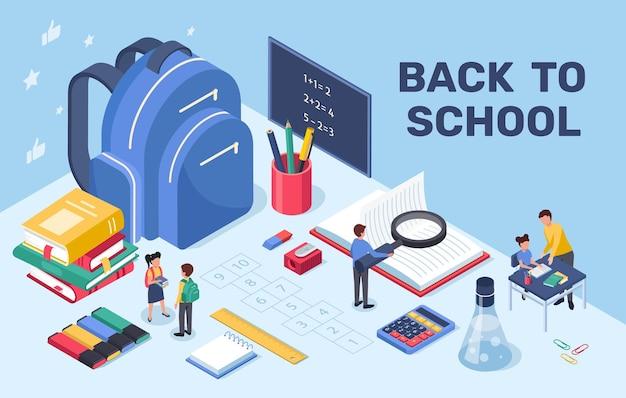 Concepto de educación y aprendizaje de regreso a la escuela con mochila, libros, pizarra, papelería, isométrica