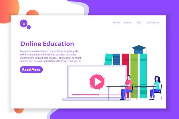 Concepto de educación a distancia en línea, estudio de internet, cursos de formación de aprendizaje electrónico. ilustración.