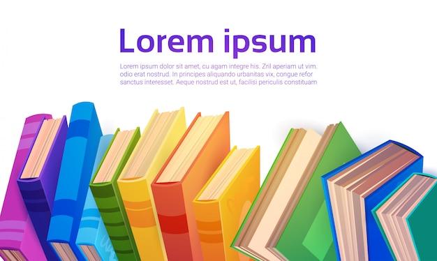 Concepto de educación escolar de pila de libros