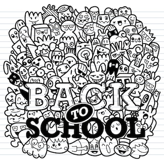 Concepto de educación. fondo escolar con útiles escolares dibujados a mano y bocadillo de diálogo cómico
