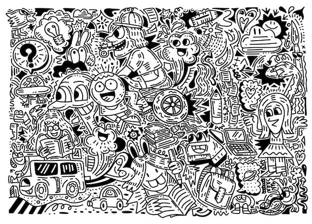 Concepto de educación. fondo escolar con útiles escolares dibujados a mano, estilo divertido doodle