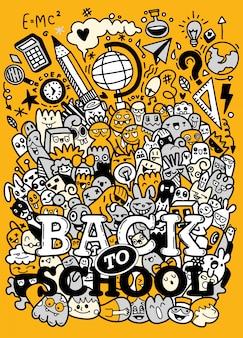Concepto de educación fondo escolar con útiles escolares dibujados a mano con letras de regreso a la escuela en estilo pop art