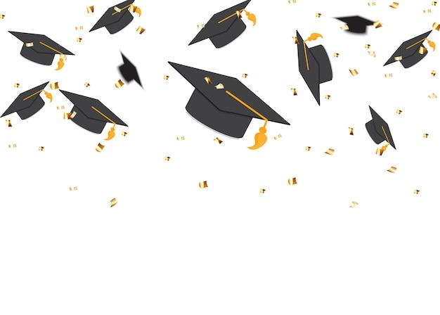 Concepto de educación, gorras de graduación y confeti. ilustración