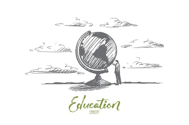 Concepto de educación. hombre dibujado a mano cerca del globo terráqueo. persona cerca de la ilustración aislada del símbolo de la tierra.